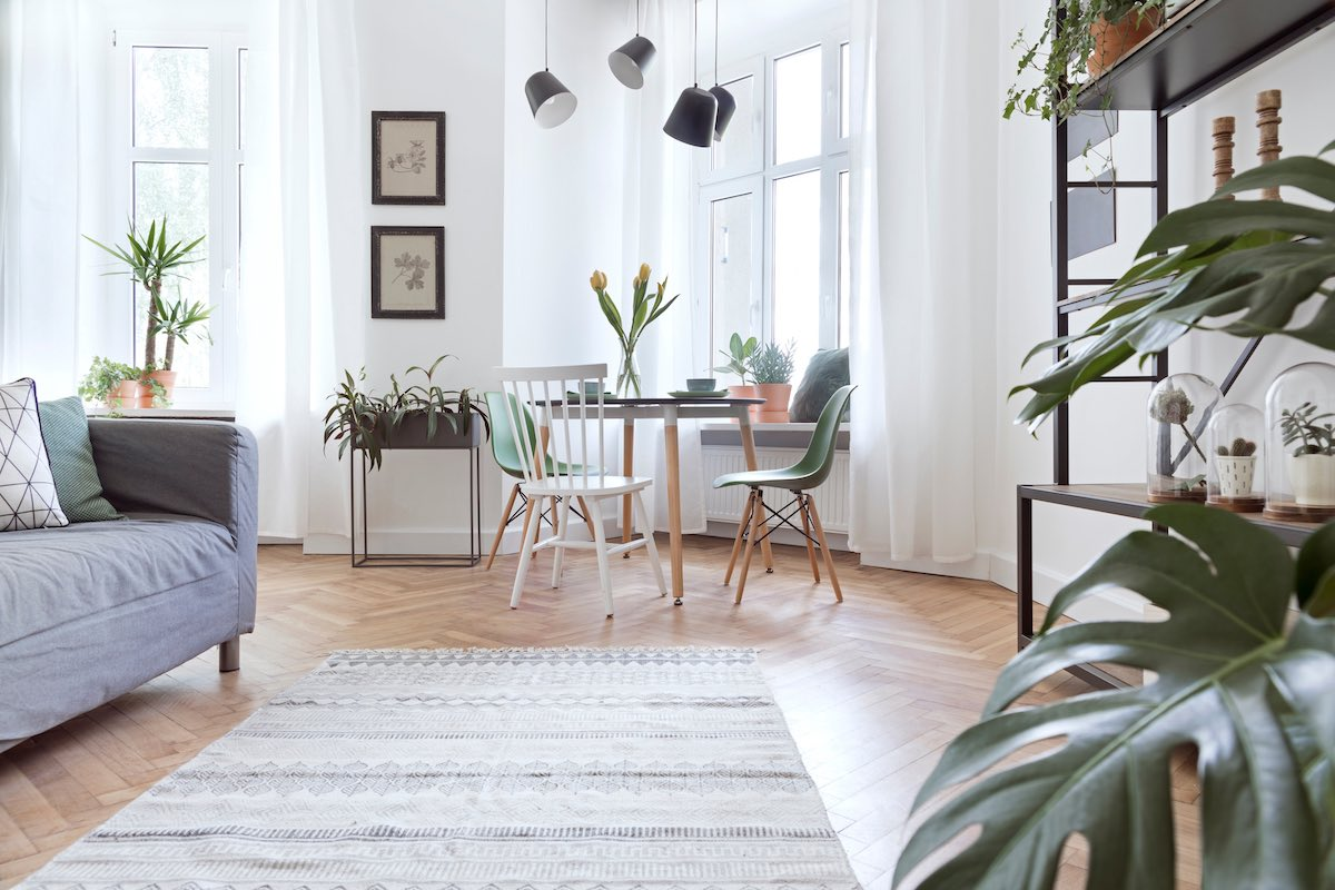 Salón comedor con paredes blancas y suelo de madera