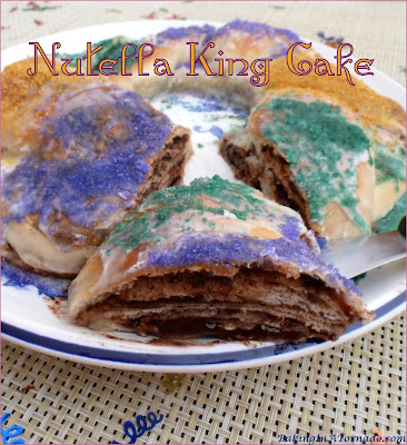 Nutella King Cake, a fun and easy interpretation of the classic Mardi Gras treat. | Recipe developed by www.BakingInATornado.com | #recipe #bake