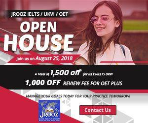 JROOZ IELTS/UKVI/OET One Day Promo  Join us on August 25, 2018   Free IELTS / IELTS UKVI / OET Orientation  IELTS: – 500 Off on Review Fee and Exam Fee A total of 1000 Off for IELTS/IELTS UKVI  OET: – 500 Off on Review Fee for OET plus – Receive free assistance in exam registration and – 50% Reimbursement Fee for OET exam coming from our Partner Recruitment Agencies (OFFER IS EXCLUSIVE TO JROOZ STUDENTS)