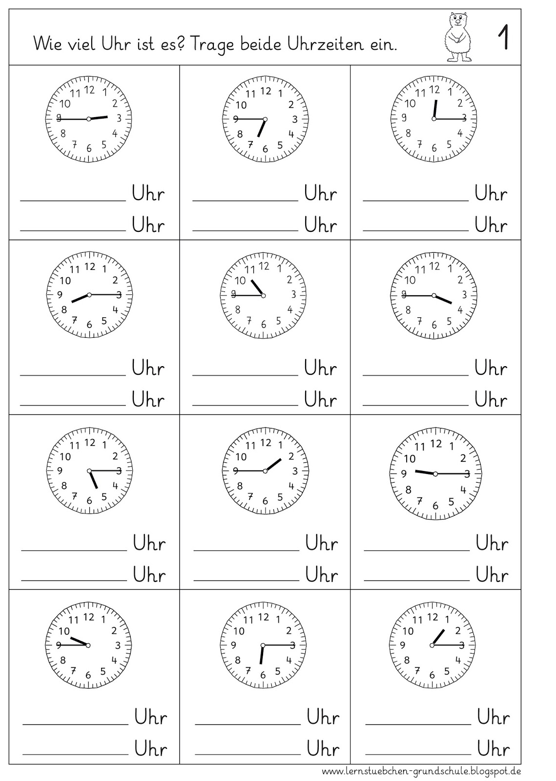 Lernstubchen Uhrzeiten Lesen
