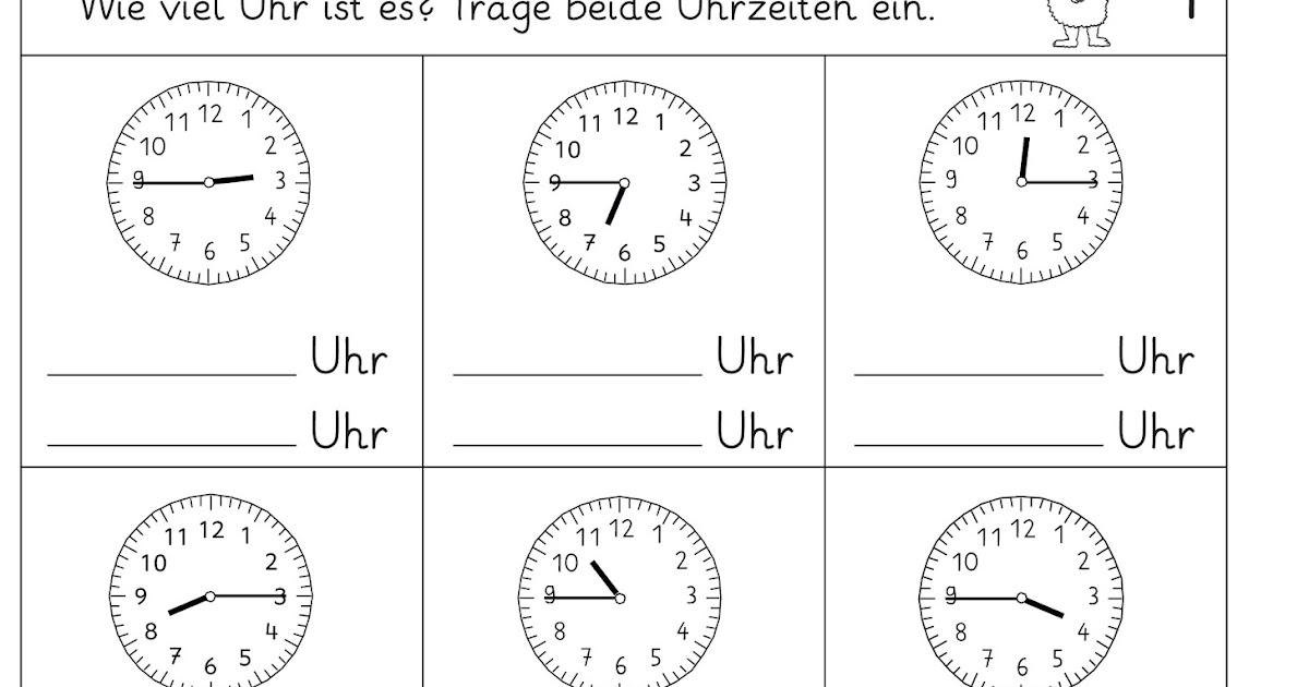 Arbeitsblatt Uhrzeiten : Lernstübchen uhrzeiten lesen gemischt