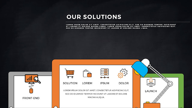 Tablet APP UI Solution Presentation PowerPoint Template with Dark Background