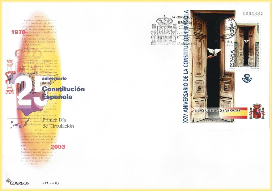 Sobres y sellos de 2003 del XXV Aniversario de la Constitución Española diseñados por JCarrero.