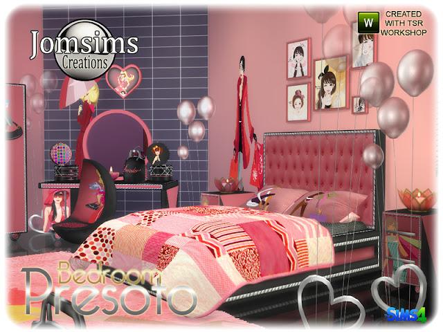 Presoto bedroom girly Presoto спальня девчушки для The Sims 4 Presoto девичий спальня В 4 оттенков для этой современной спальни очень девчачий вид. кровать двуспальная. одеяло кровать. подушки кровати. тумба. конец таблицы багажник деко, категория разно деко. багажник деко более маленький, категория беспорядок. слоеный, категория живой стул. туалетный столик зеркало, найти в категории напольное зеркало. стул, найти в категории обеденный стул. Автор: jomsims