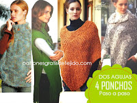 4 patrones de ponchos para tejer en dos agujas
