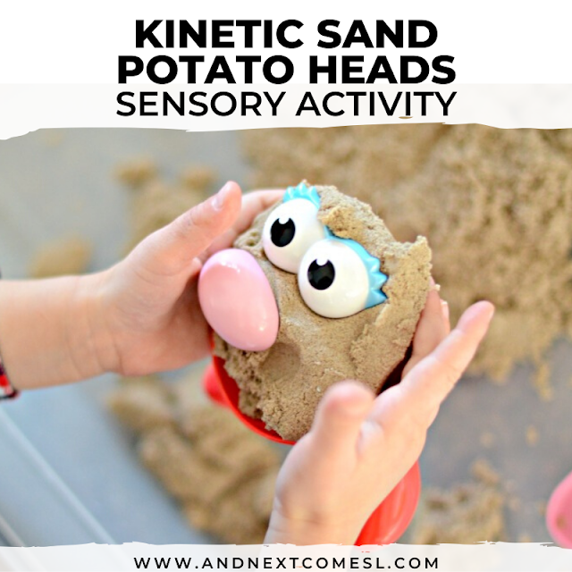 Best way to play with kinetic sand is to add Mr. Potato head pieces with this simple potato head activity for toddlers and preschoolers