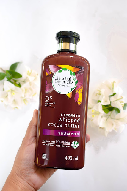 Herbal Essences bio:renew Strength Whipped Cocoa Butter Shampoo dan Conditioner