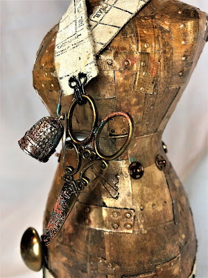 Sara Emily Barker http://sarascloset1.blogspot.com/ Foundry Altered Mannequin #timholtz #foundry #3Dembossing #distresspaints 12