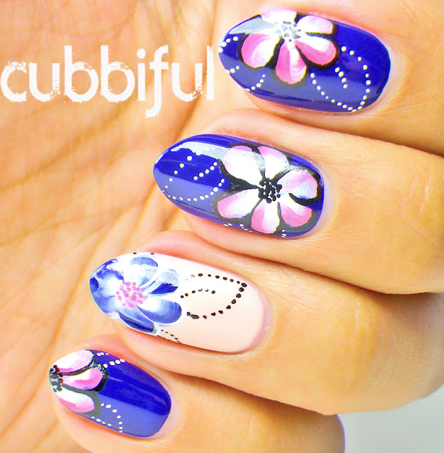 One Stroke Floral Nail Art