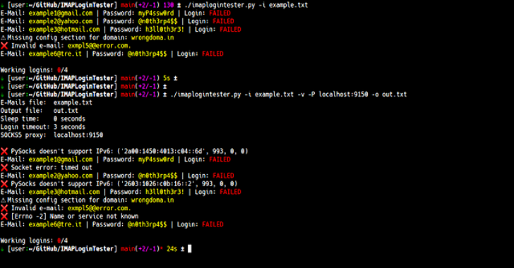 IMAPLoginTester : Script That Reads A Text File With Lots Of E-Mails And Passwords