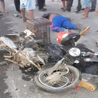 Caminhão bate em motociclista e deixa vítima gravemente ferida em Guarabira