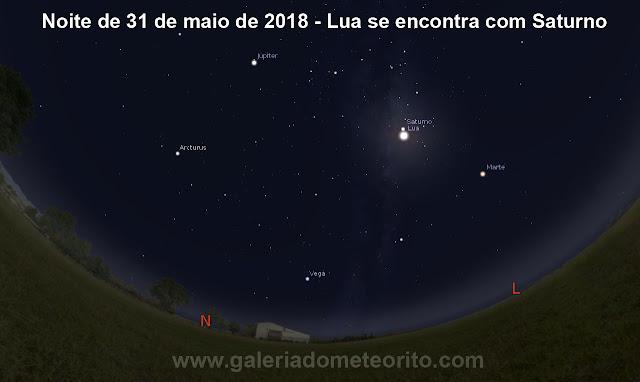Noite de 31 de maio de 2018 - Lua se encontra com Saturno