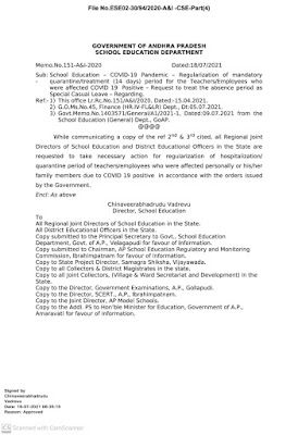 Regularization Of Mandatory Quarantine / Treatment (14 Days) Period for The Teachers / Employees