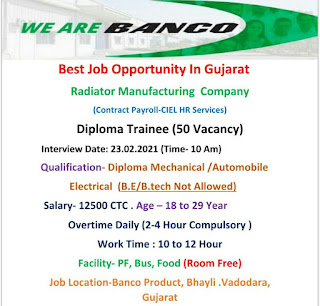 Diploma Jobs Vacancy in Banco Products (India) Ltd Radiator Manufacturing Company Gujarat Location