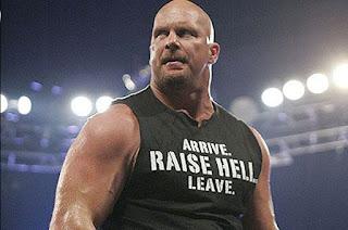 'Arrive. Raise Hell. Leave' T-shirt 'Stone Cold' Steve Austin. PYGear.com