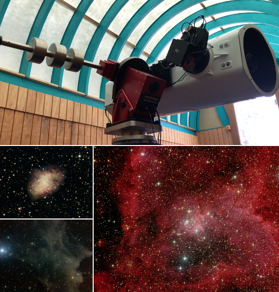 "Insight Observatory's 16"" f/3.7 astrograph reflector (ATEO-1) remote telescope that was used by Ms. DeSantis' 5th-grade students to image supernova remnant known as M1, the Crab Nebula, IC 2118, the Witch Head Nebula, and IC 1805, the Heart Nebula."