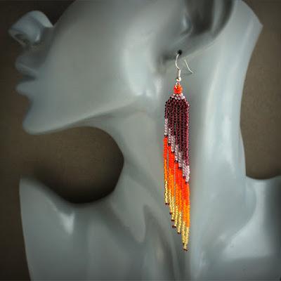 купить бисерные сережки длинные бижутерия интернет-магазин авторских украшений из бисера