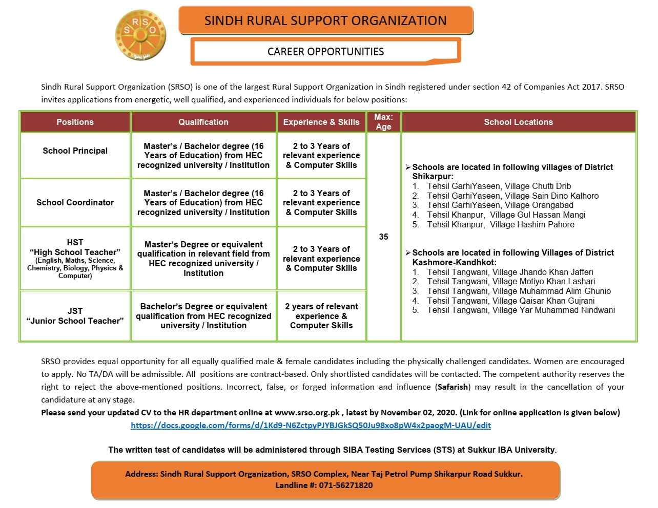HST and JST Jobs in Sindh Rural Support Organization SRSO Sukkur Jobs 2020 | Multiple Positions