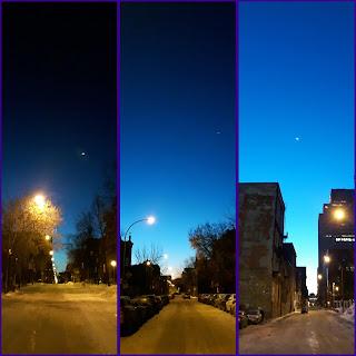 Lever de soleil à Montréal, l'hiver