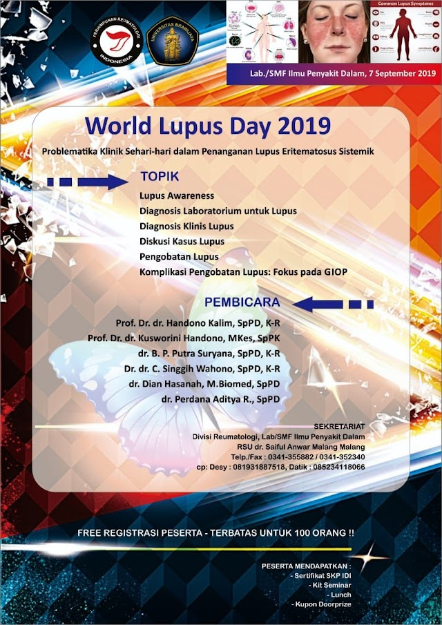 Half day seminar mengenai *LUPUS*  Sabtu, 7 September 2019