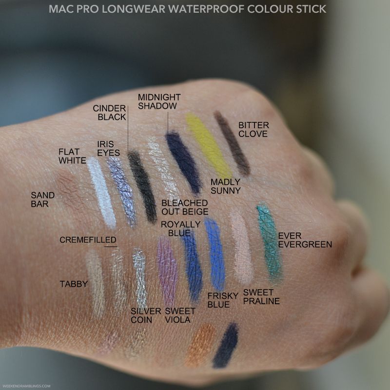 MAC Pro Longwear Colour Sticks Waterproof Cream Eyeshadows Swatches - Sand Bar Flat White Iris Eyes Cinder Black Bleached Out Beige Midnight Shadows Madly Sunny Bitter Clove Tabby Cremefilled Silver Coin Sweet Viola Royally Blue Frisky Blue Sweet Praline Ever Evergreen