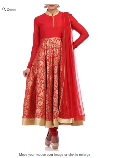 Red Crepe Anarkali Suit Set, Crepe Anarkalis by BIBA, BIBA