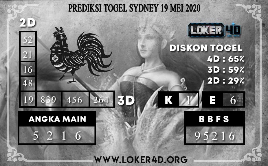 PREDIKSI TOGEL SYDNEY 19 MEI 2020