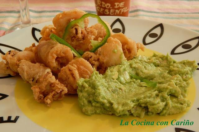 Calamares Fritos Con Crema De Aguacate