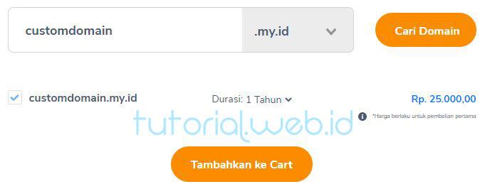 Tambahkan Domain ke Cart