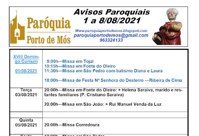 Avisos Paroquiais - 1 a 8 de Agosto de 2021