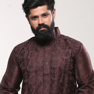 Cotton Punjabi - Brown Silk Embroidery