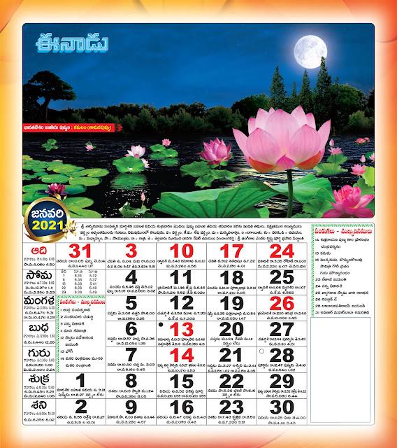 Eenadu Telugu Calendar January 2021