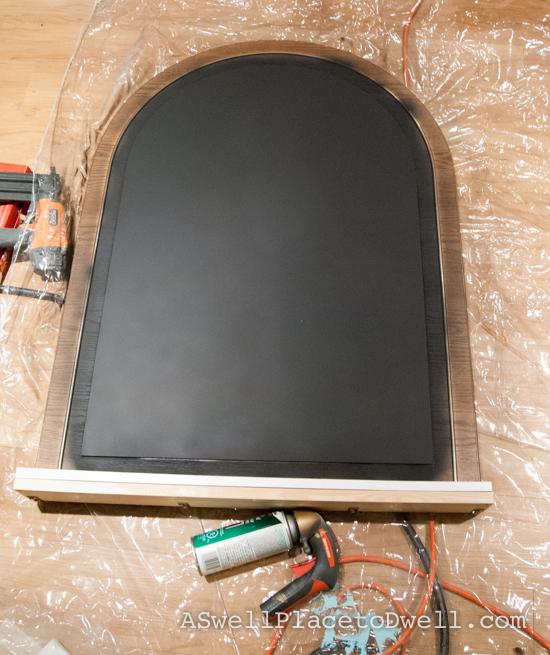 use chalkboard spray paint on a old dresser mirror