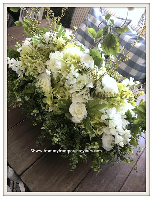 DIY-White-Hydrangea -French-Farmhouse-French-Country-Floral -Arrangement-From My Front Porch To Yours