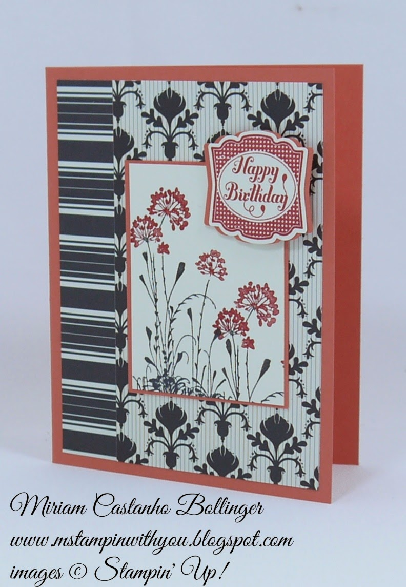Miriam Castanho Bollinger, #mstampinwithyou, stampin up, demonstrator, pp231, sssc255, serene silhouettes, label something, artisan label punch, birthday card, su