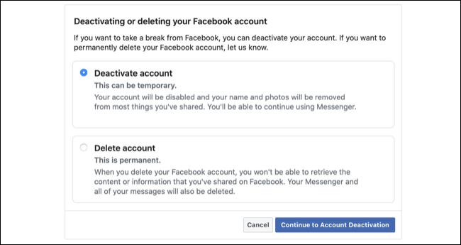 قم بإلغاء تنشيط حساب Facebook