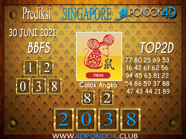 Prediksi Togel SINGAPORE PONDOK4D 30 JUNI 2021