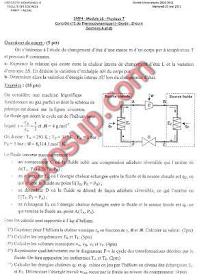 contrôle thermodynamiqe 2 + corrigé