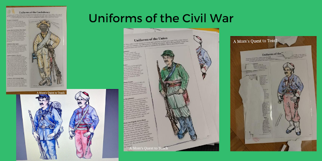 Text: Uniforms of the Civil War; four pages of coloring pages