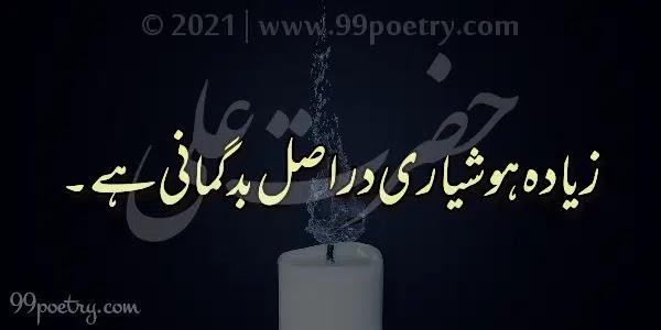 Ziyada Hoshyari Darasal Badgumaani Hai-hazrat Ali Quotations-Sayings