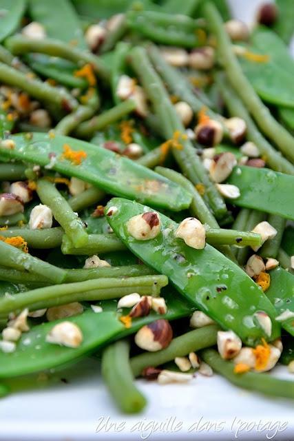 Salade de haricots verts et pois gourmands, d'Ottolenghi