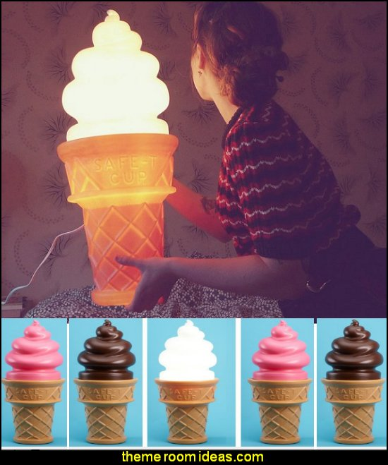Giant Ice Cream Cone Lamp circus bedroom ideas - circus theme bedroom decor - carnival theme bedrooms - decorating circus theme bedrooms - Ice Cream theme decor - balloon decor - Disney Dumbo - circus party theme - Roller Coaster Amusement Park wall decals - ice cream party decorations