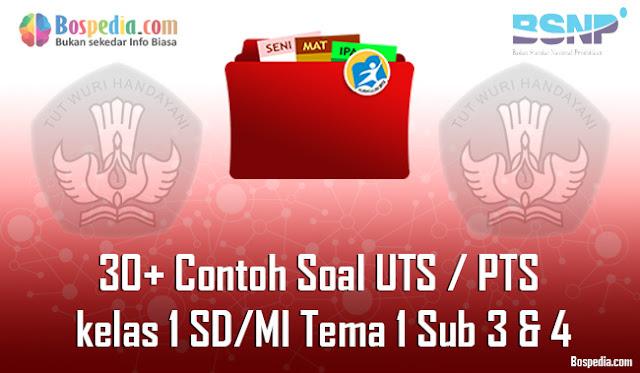 30+ Contoh Soal UTS / PTS untuk kelas 1 SD/MI Tema 1 Sub 3 & 4 Kunci Jawaban