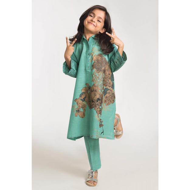 Kids Winter Collection Sea Green dress