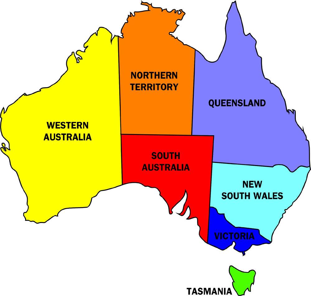 Australien Karta Over Region Politiska