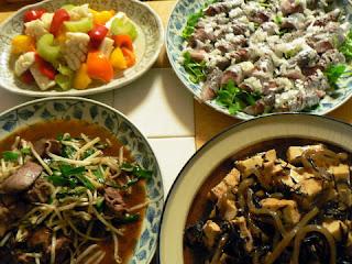 イワシの刺身 鶏肉とヒジキの煮物 イカとピーマンとセロリの炒め物 レバニラ炒め煮