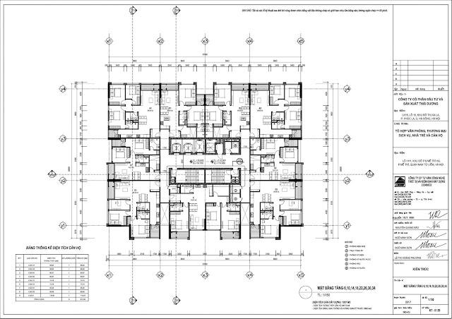 Mặt bằng tầng điển hình thiết kế Dual Key Dự án The Sun Mễ Trì