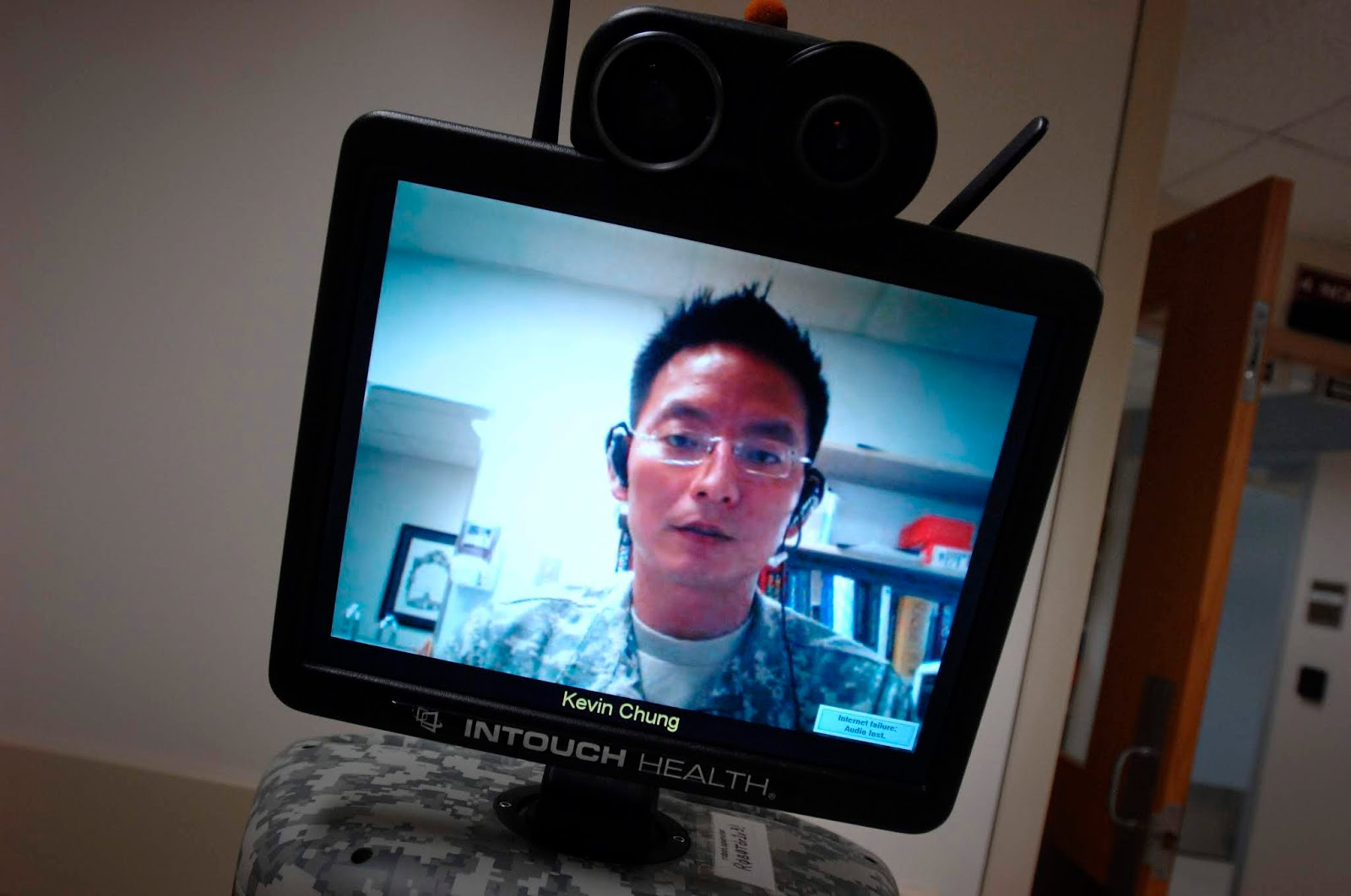 Army Col. (Dr.) Kevin Chung, in 2008, remotely controls an RP-7 remote presence robot in the intensive care unit at Brooke Army Medical Center in San Antonio. At the time, he was serving as medical director for the burn intensive care unit. (Photo by Fred Baker, Office of the Secretary of Defense Public Affairs) https://www.dvidshub.net/image/133798/hospital-robot-helps-save-lives-off-battlefield