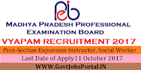 Madhya Pradesh Professional Examination Board Recruitment 2017– 192 Section Expansion Instructor, Social Worker