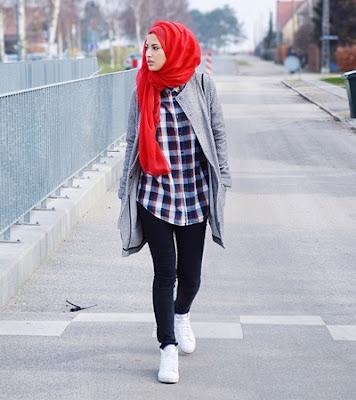 Kemeja Flanel Wanita Hijab 4